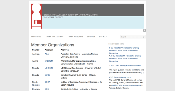 International Federation of Data Organizations for Social Science databases