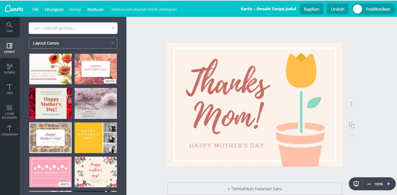 Buat Desain Kartu Ucapan Hari Ibu Dengan Mudah