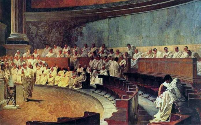 An image of a sitting of the Roman senate