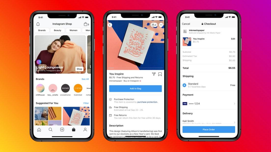 Screenshots of Instagram Shop