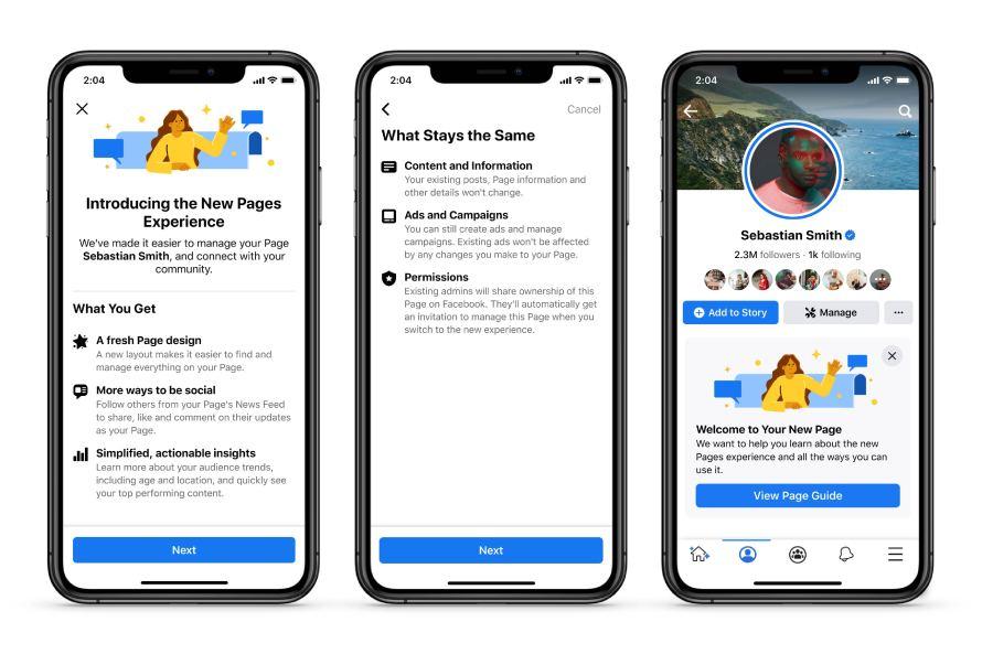 Captures d'écran du nouveau design d'expérience Pages