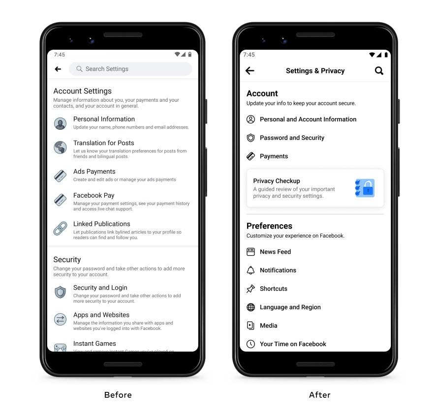 Screenshot of redesigned Facebook Settings