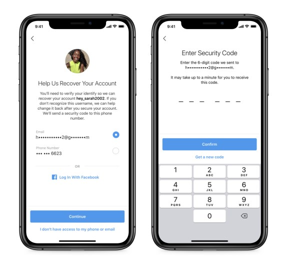 Screenshots of updating your phone number and email on Instagram