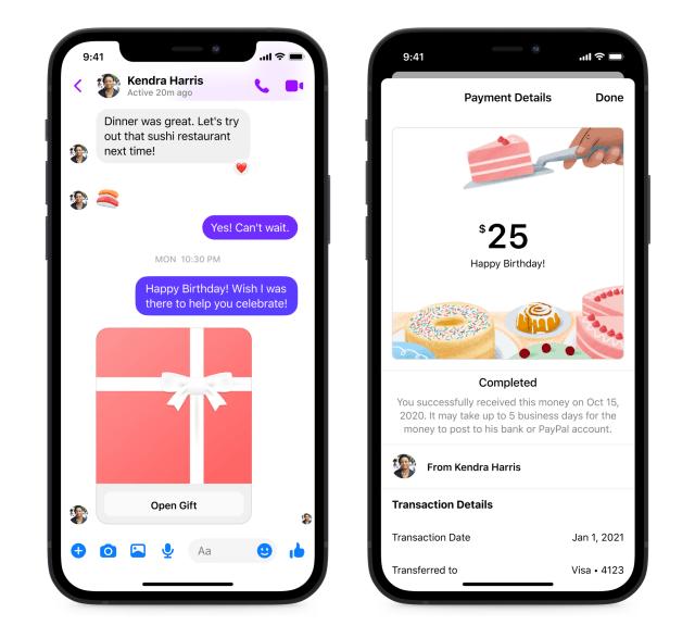 Screenshot of birthday cash gifting through Facebook Pay