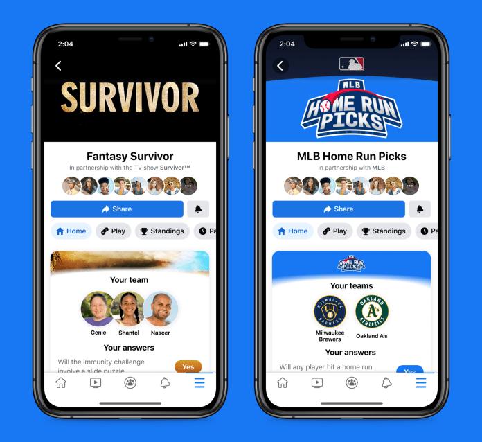 Screenshots of Fantasy Survivor and MLB Home Run Picks