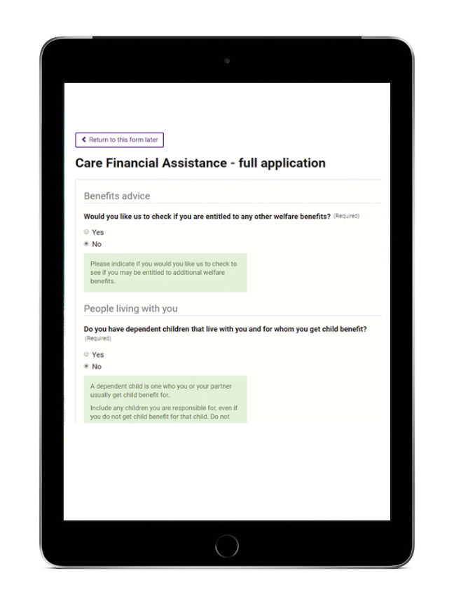 BetterCare: Financial Assessment screenshot