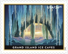 Priority Mail Express Grand Island Ice Caves stamp