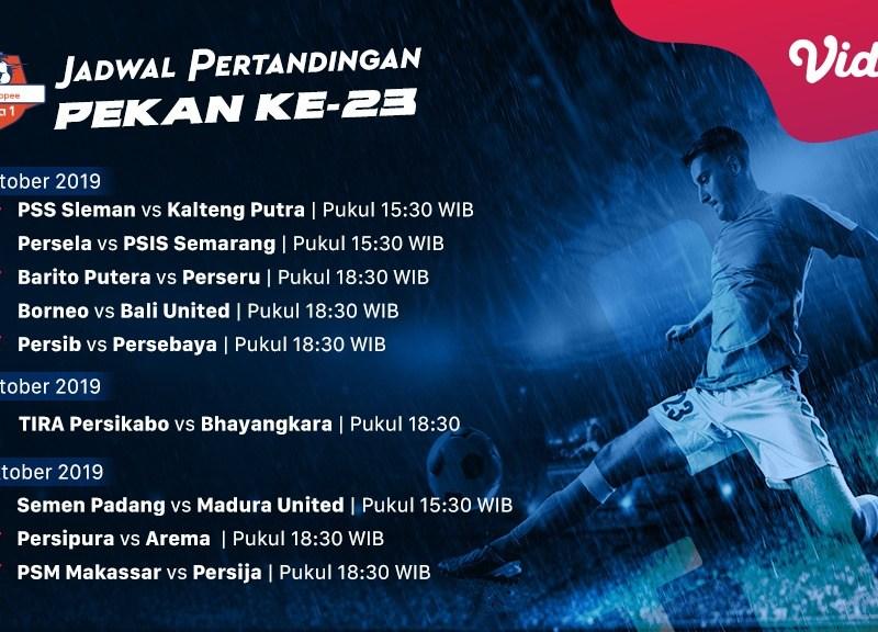 Jadwal Pertandingan Shopee Liga 1 Pekan 23
