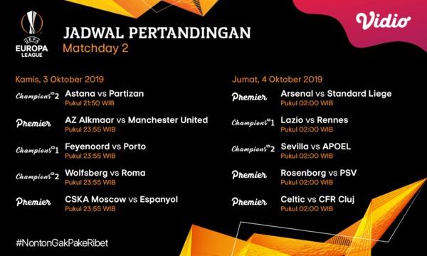 Jadwal Pertandingan Liga Eropa 3 – 4 Oktober 2019