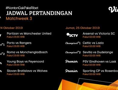 Jadwal Pertandingan Liga Eropa 24 – 25 Oktober 2019