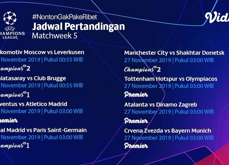 Jadwal Pertandingan Liga Champions 27 – 28 November 2019
