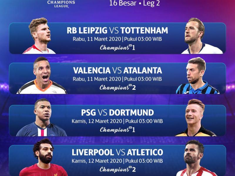 Jadwal pertandingan Liga Champions 16 Besar Leg 2