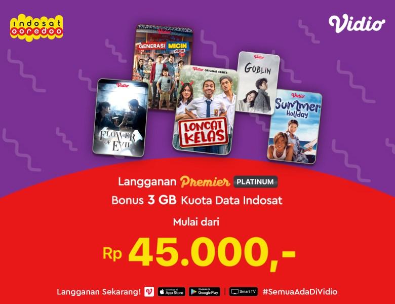 Nonton Streaming dengan Langganan Premier Platinum di Vidio Sekarang, Bonus 3GB Kuota Indosat!