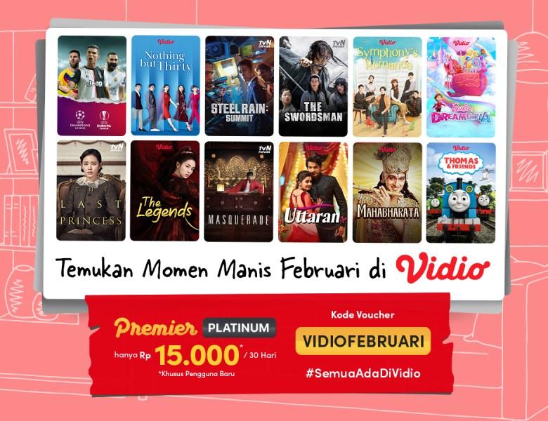 Promo Vidio Bulan Februari, Streaming Sepuasnya Hanya Rp 15.000!