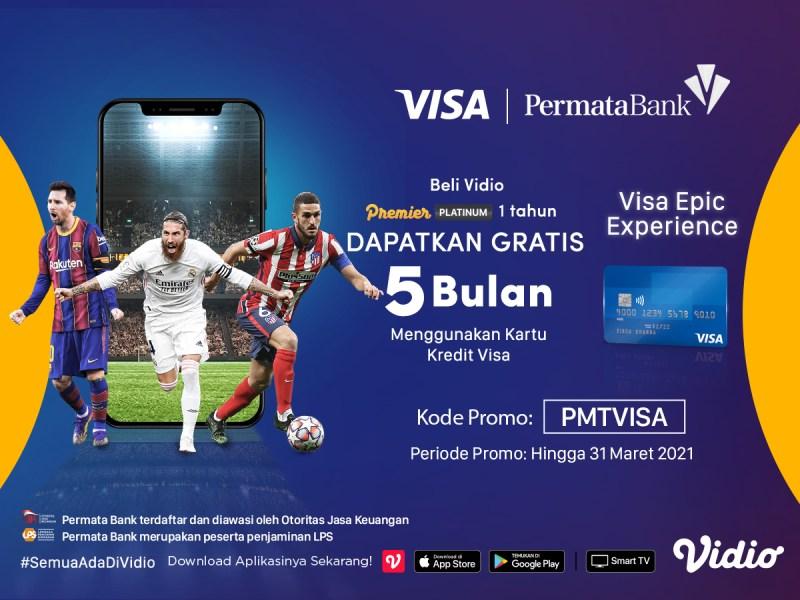 Beli Vidio Premier Platinum 1 Tahun Pakai Kartu Kredit Visa PermataBank & Dapatkan Gratis Ekstra 5 Bulan!