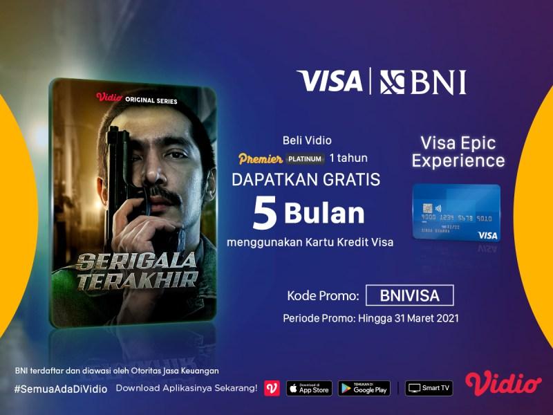 BNI Visa Epic Experience Bersama Vidio, Beli Vidio Platinum 1 Tahun dapatkan Gratis Extra 5 Bulan
