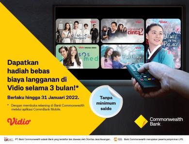 Dapatkan Bebas Biaya Nonton 3 Bulan di Vidio dari Promo Bank Commonwealth!
