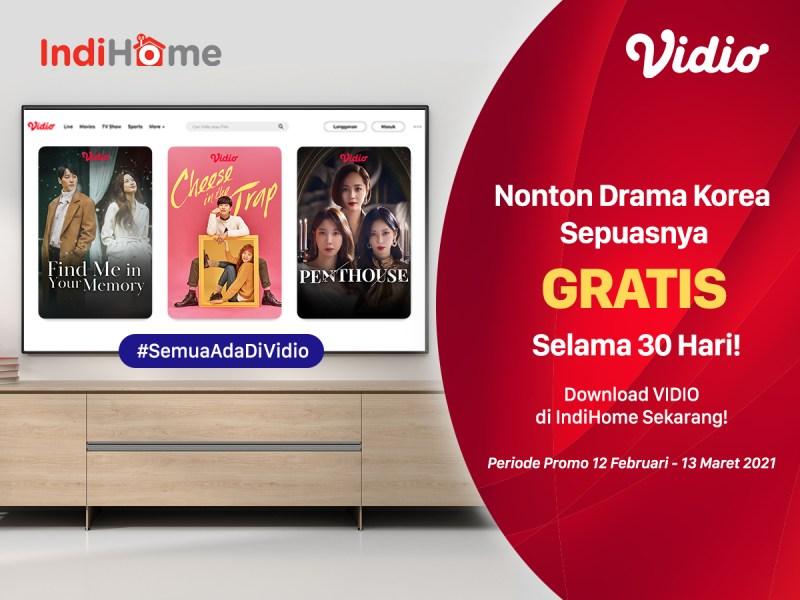 Promo IndiHome Dapat Vidio Premier 30 Hari GRATIS, Nonton Drakor Paling Hemat!