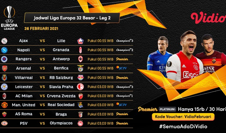 Link Live Streaming Liga Europa Leg Kedua Babak 32 Besar Dini Hari Nanti di Vidio