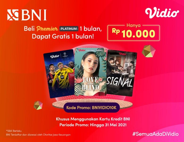 Super Untung! Beli Vidio Premier Platinum 1 Bulan Dengan Promo Kartu Kredit BNI Dapat 2 Bulan!
