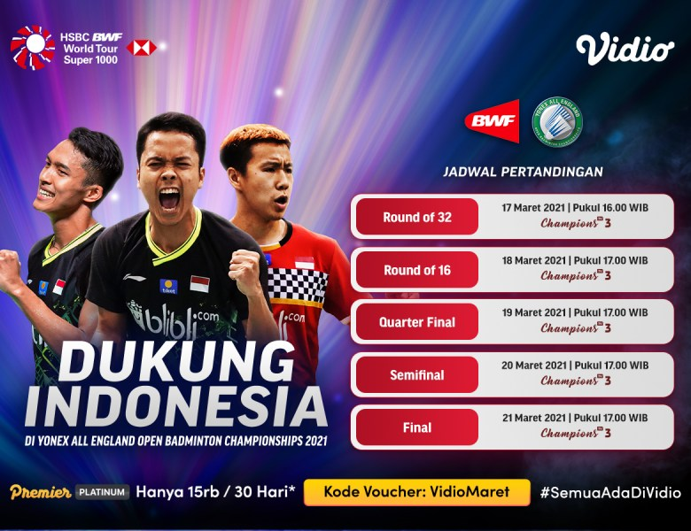 Ini Update Jadwal & Link Badminton Live YONEX All England 2021