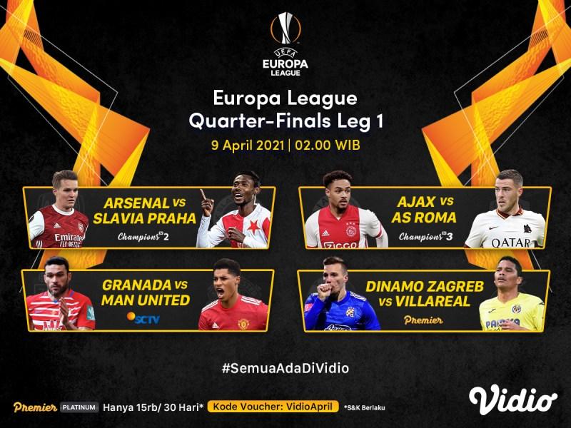 Jadwal Streaming Liga Europa Babak 8 Besar Leg Pertama di Vidio,