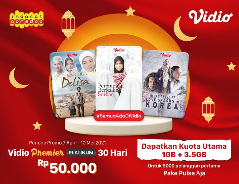 Rayakan Ramadhan dengan Promo Indosat, Langganan Vidio Premier 30 Hari Dapat Tambahan Kuota!