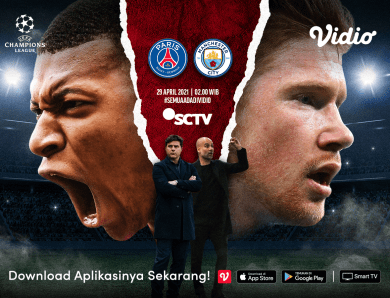 Live Streaming Liga Champions PSG vs Manchester City di Vidio