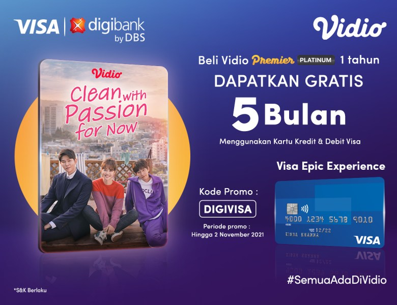 Promo Kartu Kredit & Debit VISA Digibank, Gratis Paket Vidio Hingga 5 Bulan
