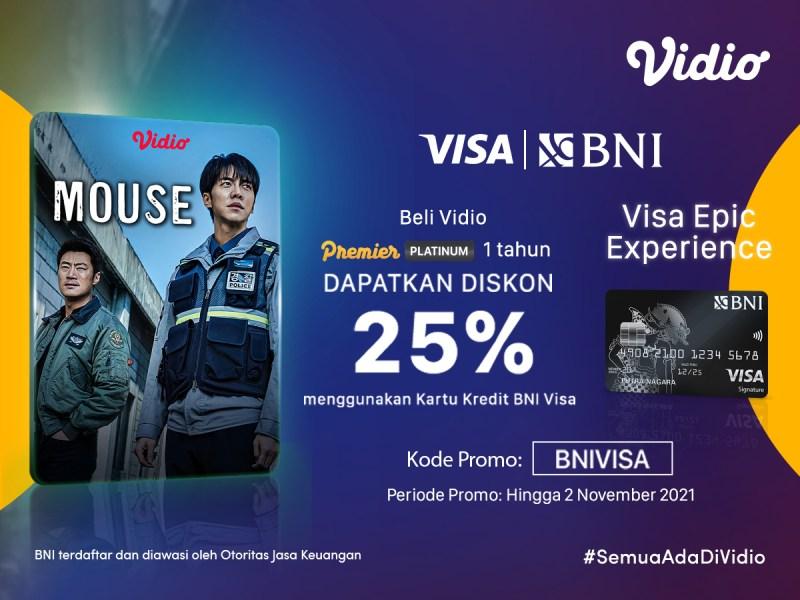 Nikmati Diskon 25%, Beli Paket Vidio Hemat Dengan Promo Kartu Kredit BNI VISA