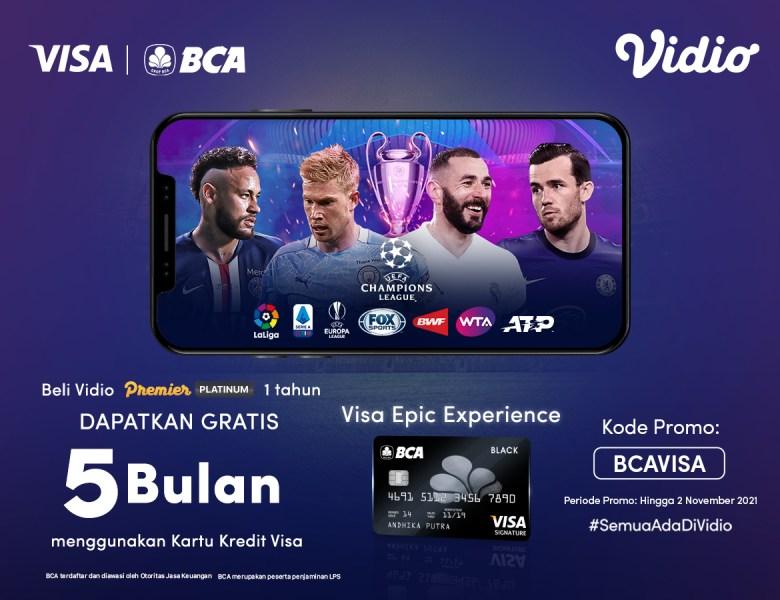 Pakai Kartu Kredit BCA Visa, Beli Vidio Premier Platinum 1 Tahun & Dapat Gratis Ekstra 5 Bulan!