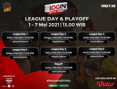 Live Streaming Login Battle Series Free Fire Fase Play Off di Vidio
