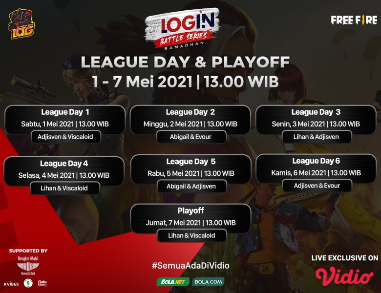 Live Streaming Login Battle Series Free Fire Hanya di Vidio