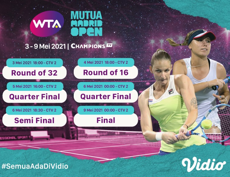 Live Streaming WTA 1000 MUTUA Madrid Open di Vidio