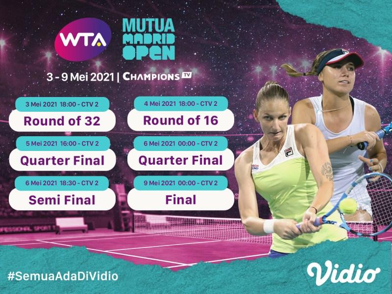 Live Streaming WTA 1000 MUTUA Madrid Open di Vidio