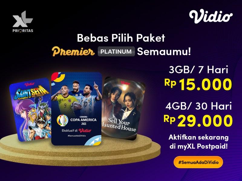 Paket Vidio Premier Platinum Kini Makin Fleksibel dengan Promo XL Prioritas!