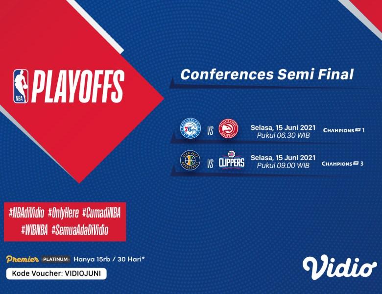Jadwal dan Link Live Streaming Semifinal NBA 2021 Game 4: Sixers vs Hawks dan Jazz vs Clippers, Selasa 15 Juni 2021 Eksklusif di Vidio