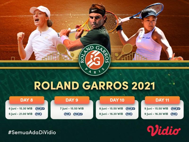 Jadwal dan Live Streaming Grand Slam Roland Garros 2021 Pekan Ini: Nadal dan Djokovic Tatap Perempat Final, 6 – 9 Juni 2021 Eksklusif di Vidio