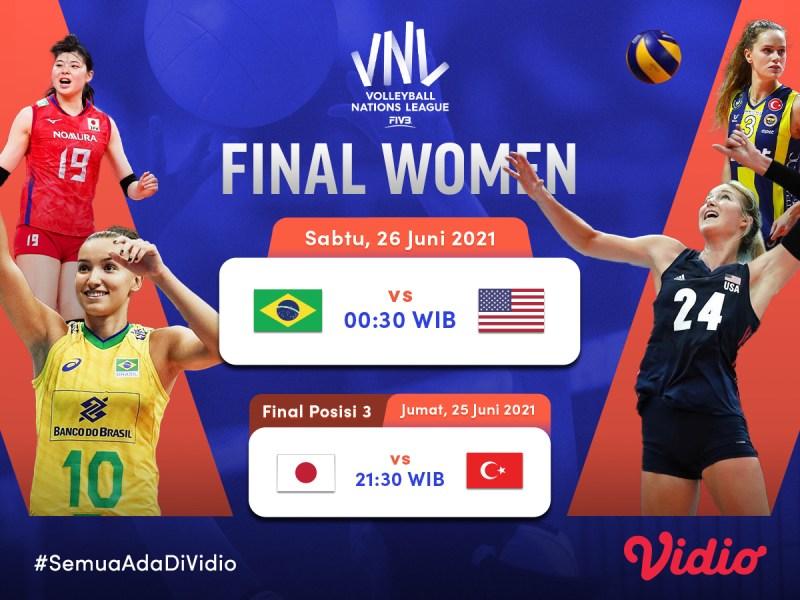 Jadwal Live Streaming Grand Final Women VNL 2021 di Vidio, 25 dan 26 Juni 2021