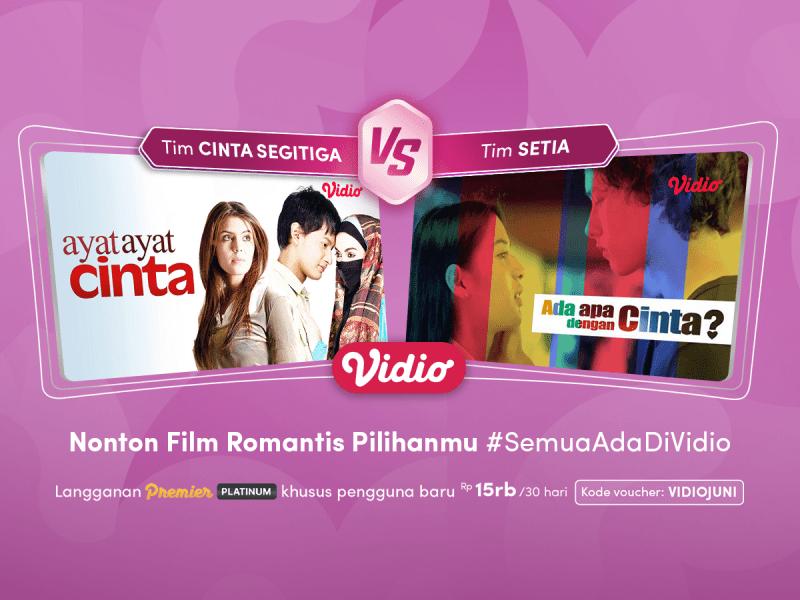Nonton Film Romantis Indonesia Terbaik di Vidio, Mulai dari Cinta Segitiga hingga Cinta Sehidup Semati