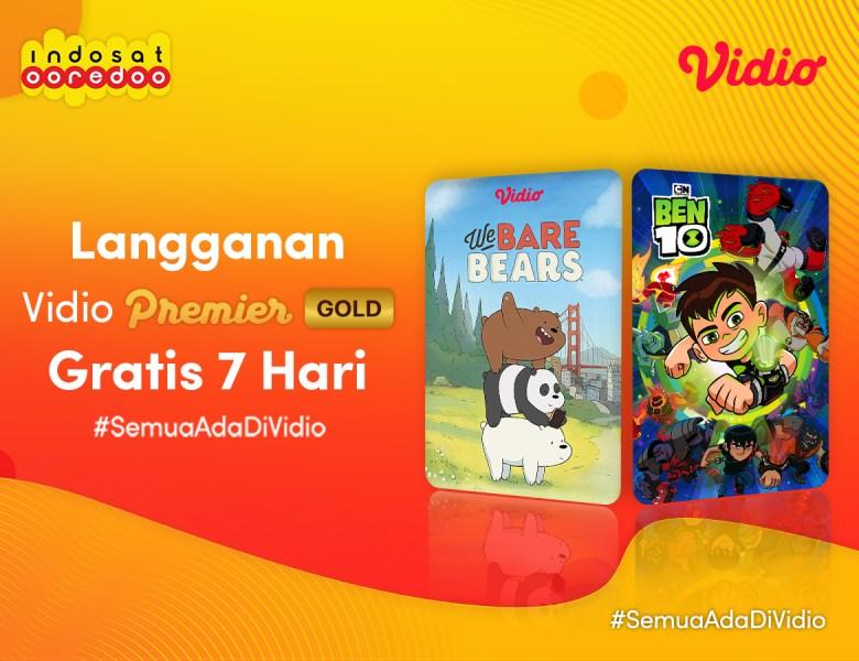 GRATIS Tujuh Hari Vidio Premier Gold untuk Pengguna Indosat!