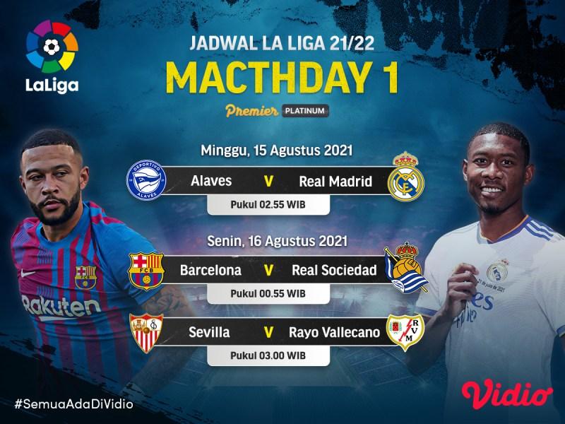 Link Live Streaming La Liga 2021 Matchday 1, Madrid vs Alaves