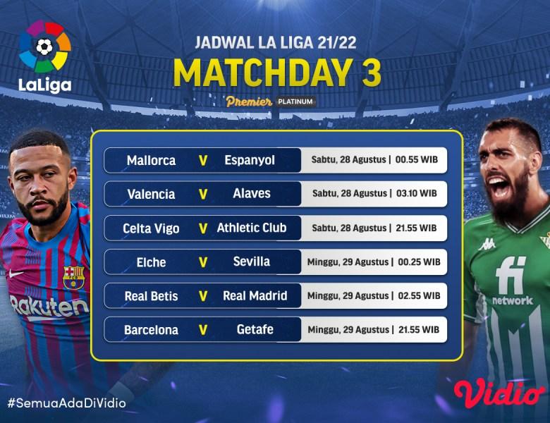 Link Live Streaming La Liga 2021-2022: Jornada 3