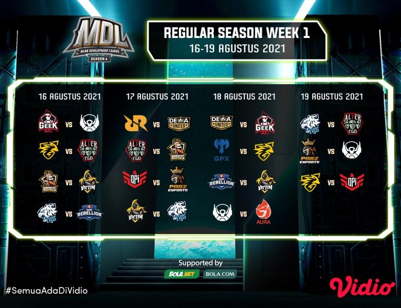 Saksikan! Live Streaming MDL Regular Season 4, 16 Agustus 2021