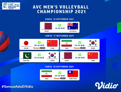 Streaming AVC Men's Volleyball Championship 2021 Pekan Ini, 16-18 September 2021