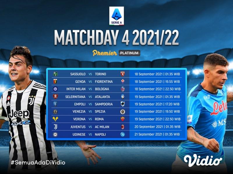 Jadwal dan Link Live Streaming Serie A Italia 2021/22 Pekan 4