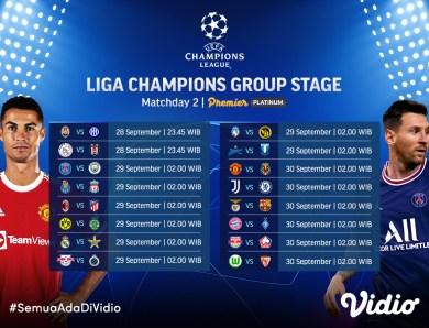 Jadwal Lengkap Streaming Liga Champions 2021/22 Pekan Kedua