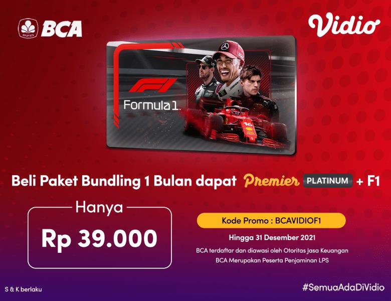 Streaming F1 & Paket Premier 1 Bulan Dengan Promo Bundling BCA!