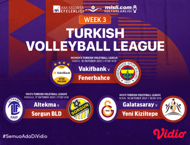 Live Streaming Liga Voli Turki Putra dan Putri 2021/22 Pekan Ketiga