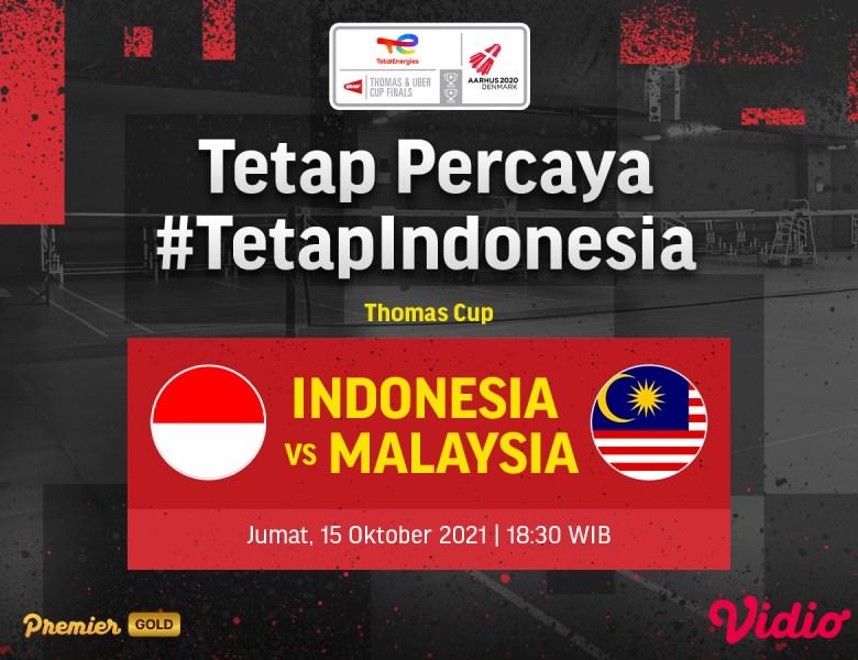 Jadwal Live Streaming Thomas Cup 2020: Indonesia Lawan Malaysia di Perempat Final